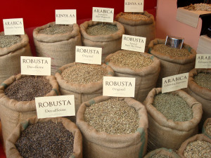 zelená káva typu robusta